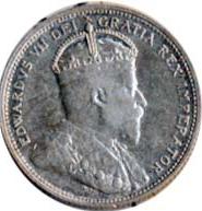 Canada 1905 25 Cents – Edward VII Coin Obverse