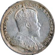 Canada 1908 25 Cents – Edward VII Coin Obverse