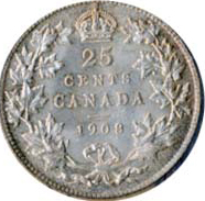 Canada 1908 25 Cents – Edward VII Coin Reverse