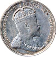 Canada 1909 25 Cents – Edward VII Coin Obverse