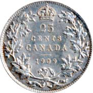 Canada 1909 25 Cents – Edward VII Coin Reverse