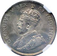 Canada 1911 25 Cents – George V Coin Obverse