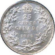 Canada 1913 25 Cents – George V Coin Reverse