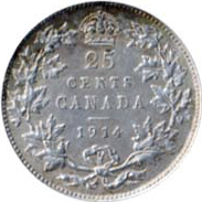 Canada 1914 25 Cents – George V Coin Reverse