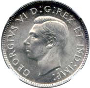 Canada 1937 25 Cents – George VI Coin Obverse