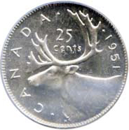 Canada 1951 25 Cents – George VI Coin Reverse