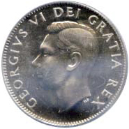 Canada 1951 25 Cents – George VI Coin Obverse