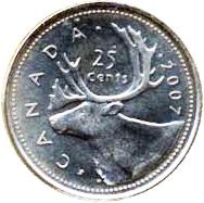 Canada 2007 25 Cents – Elizabeth II Coin Reverse