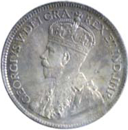 Newfoundland 1917 25 Cents – George V Coin Obverse