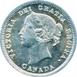 Canada 1858 5 Cents – Victoria Coin Obverse