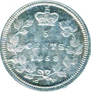 Canada 1858 5 Cents – Victoria Coin Reverse