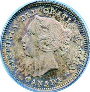 Canada 1881 5 Cents – Victoria Coin Obverse