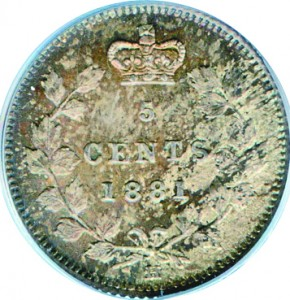 Canada 1881 5 Cents – Victoria Coin Reverse