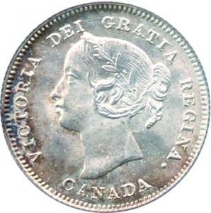 Canada 1900 5 Cents – Victoria Coin Obverse