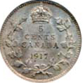 Canada 1917 5 Cents – George V Coin Reverse