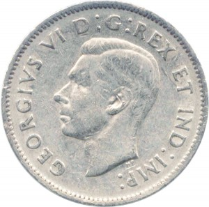 Canada 1941 5 Cents – George VI Coin Obverse