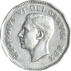 Canada 1948 5 Cents – George VI Coin Obverse