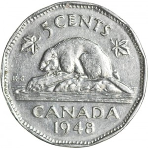 Canada 1948 5 Cents – George VI Coin Reverse