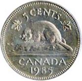 Canada 1985 5 Cents – Elizabeth II Coin Reverse