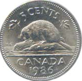 Canada 1986 5 Cents – Elizabeth II Coin Reverse