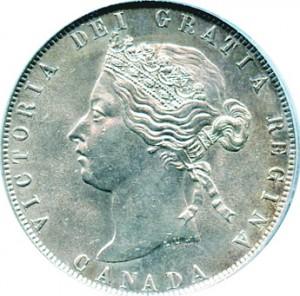 Canada 1872 50 Cents – Victoria Coin Obverse