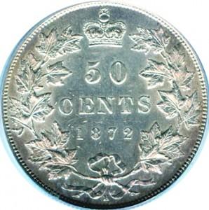 Canada 1872 50 Cents – Victoria Coin Reverse