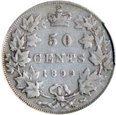 Canada 1899 50 Cents – Victoria Coin Reverse