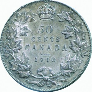 Canada 1910 50 Cents – Edward VII Coin Reverse