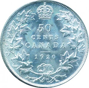 Canada 1920 50 Cents – George V Coin Reverse
