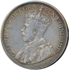 Canada 1932 50 Cents – George V Coin Obverse