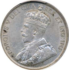 Canada 1936 50 Cents – George V Coin Obverse