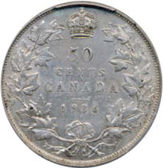 Canada 1936 50 Cents – George V Coin Reverse
