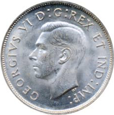 Canada 1937 50 Cents – George VI Coin Obverse