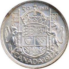 Canada 1937 50 Cents – George VI Coin Reverse