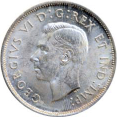 Canada 1941 50 Cents – George VI Coin Obverse