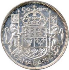 Canada 1941 50 Cents – George VI Coin Reverse