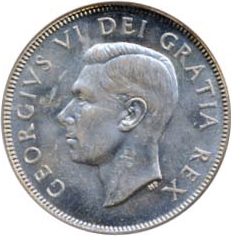 Canada 1948 50 Cents – George VI Coin Obverse