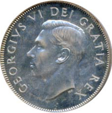 Canada 1949 50 Cents – George VI Coin Obverse