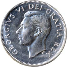 Canada 1951 50 Cents – George VI Coin Obverse