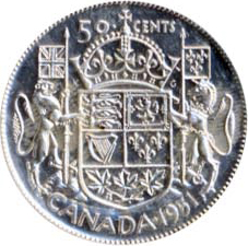 Canada 1951 50 Cents – George VI Coin Reverse