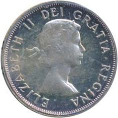 Canada 1954 50 Cents – Elizabeth II Coin Obverse