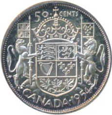 Canada 1954 50 Cents – Elizabeth II Coin Reverse