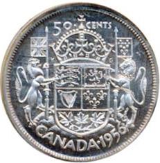 Canada 1956 50 Cents – Elizabeth II Coin Reverse