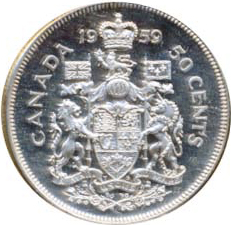 Canada 1959 50 Cents – Elizabeth II Coin Reverse