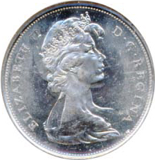 Canada 1967 50 Cents – Elizabeth II Coin Obverse