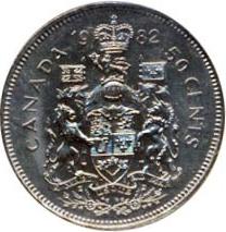 Canada 1982 50 Cents – Elizabeth II Coin Reverse
