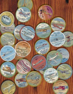 Popular collector coins of aircraft available from Jello and Hostess products in the 1950s.