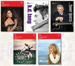 The stamp covers of the Canadian Country Artists series.
