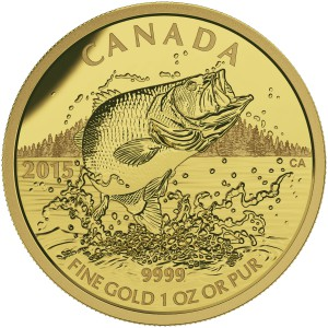 The 2015 $200 Pure Gold Coin -- North American Sportfish, featuring a Largemouth Bass.