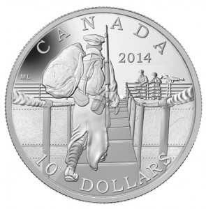 The Mint also featured the Ross rifle on this $10 silver coin.